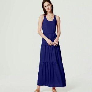 Loft Blue Cross Strap Back Gypsy Skirt Maxi Dress